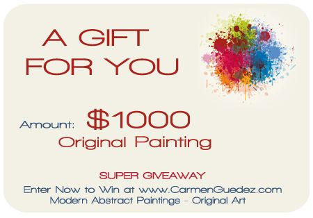 Win $1000 Original Painting Giveaway - Enter Now at www.carmenguedez.com