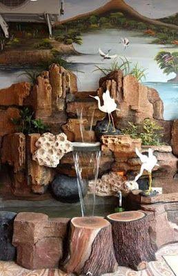 cara membuat air terjun dinding batu alam - desain rumah
