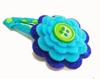 Blue felt flower hair clip / felt hair clip / girl barrette / baby hair clip…