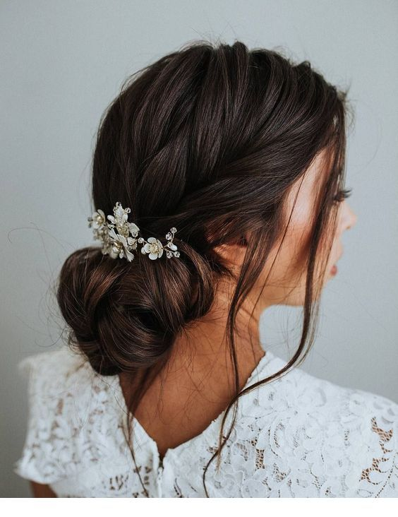 White Lace Dress And Low Bun Hair Styles Romantic Updo Wedding Long Hair Styles