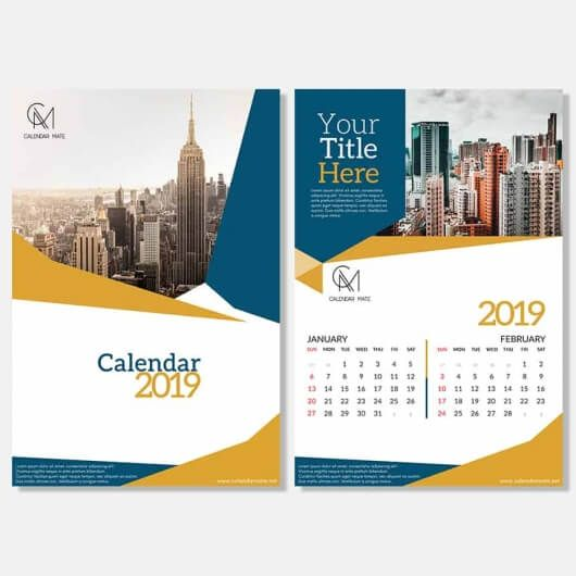 Free Desk Calendar Design Template 2019 Psd Brosur Kalender Desain