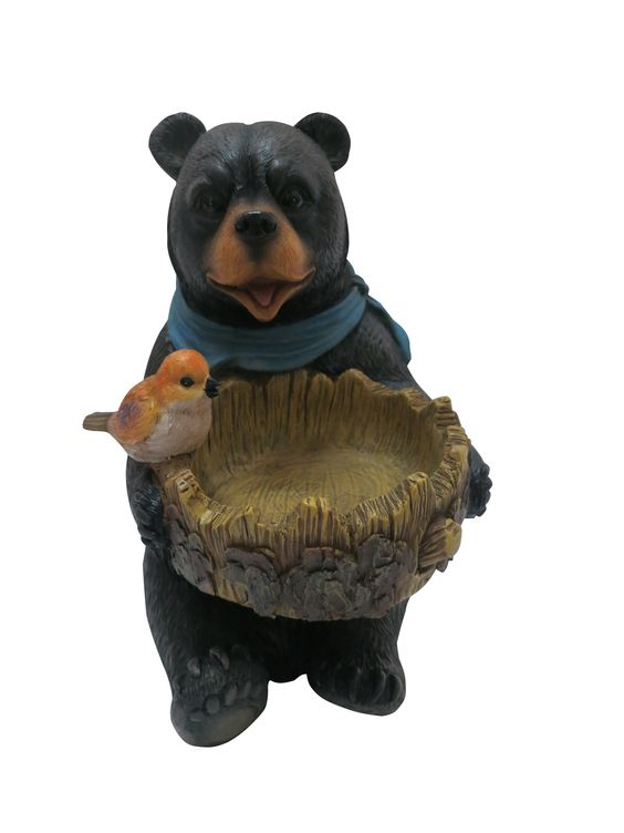Polyresin Bear Statue with Decorative Bird Feeder