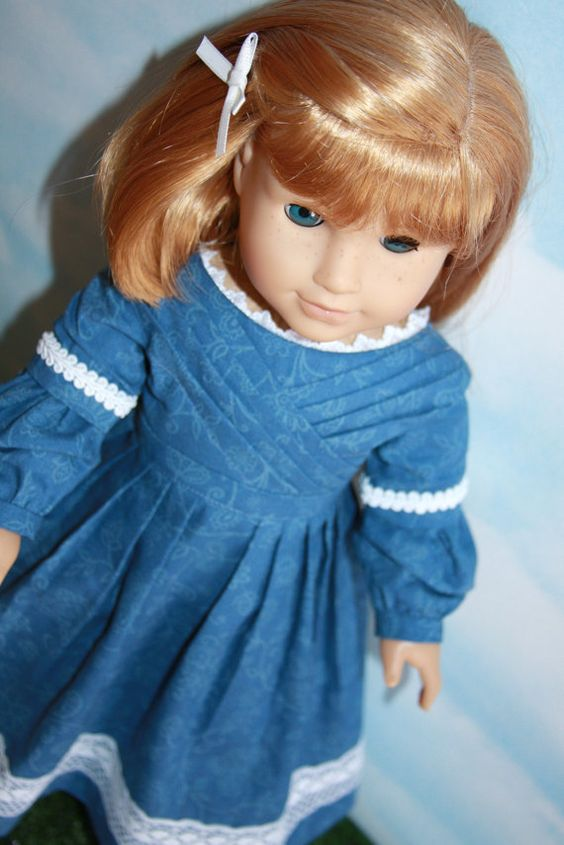 18 Inch Doll (like American Girl) Blue Floral Sarah Hale Historical Colonial Dress with Lace Trim