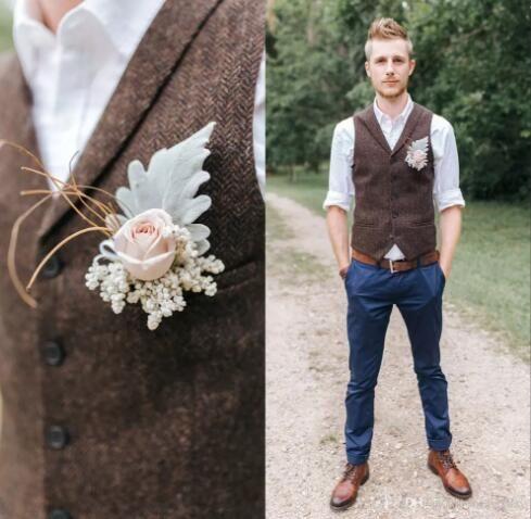 2019 Farm Dark Brown Groom Vests Wool Herringbone Tweed Custom Made Groomsmen Attire Slim Fit Mens Dress Prom Wedding Waistcoat Plus Size Wedding Suit Man Weddi Wedding Waistcoats Groom Vest Wedding Vest
