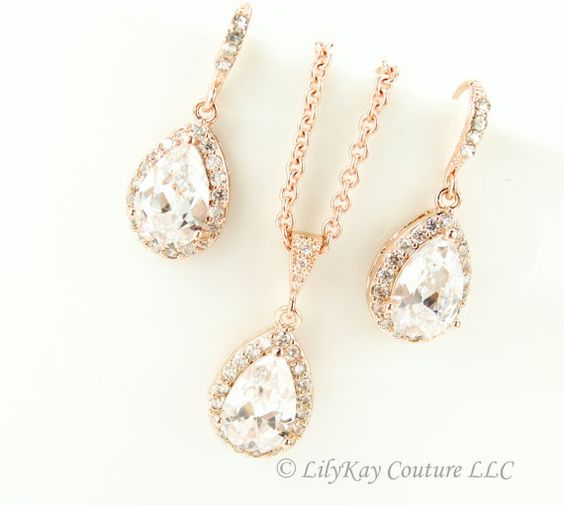 Rose Gold Bridal Necklace by LilykayCouture
