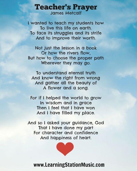 Teacher's Prayer By James Metcalf