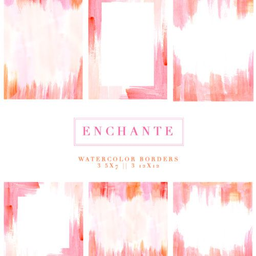Enchante Watercolor Paint Strokes Splash Clipart Background 5x7
