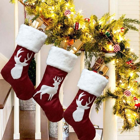 Plush reindeer Christmas stocking New fashion Ornaments Christmas Decoration Tree Pattern Candy Gift Bag | Wish