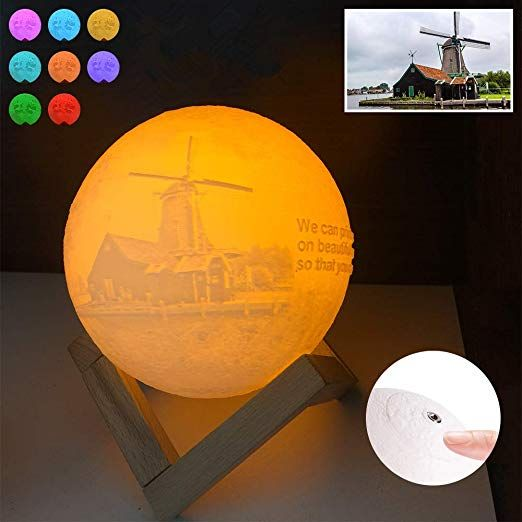Custom Picture Moon Lamp Personalized 3d Printed Moon Night Light With Stand Touch Control Dimmable Night Light Decorativ Lamp Light Decorations Room Lights