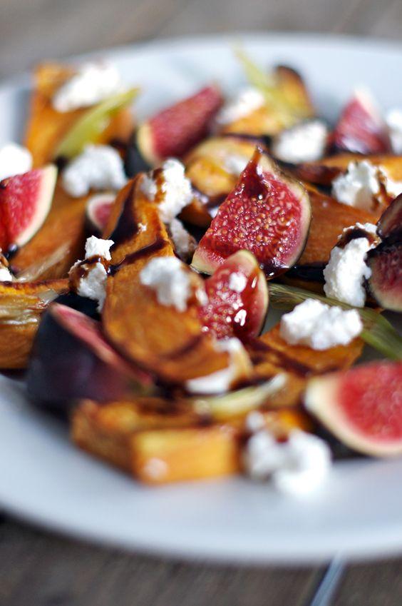 Salat mit Ziegenkäse, Feige und Süßkartoffel