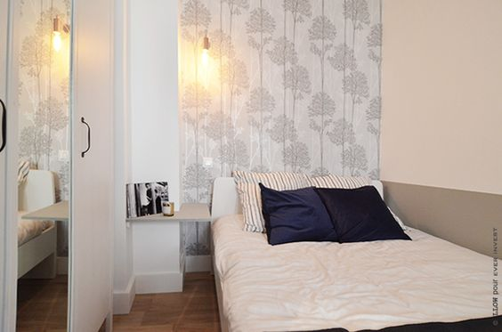 Interior Design - LLowStudio - HomeStaging - Paris - Grey and blue touches - Bedroom - Graham&Brown Wallpaper