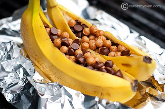 grilled stuffed bananas: Slit the bananas in half lengthwise, but be ...