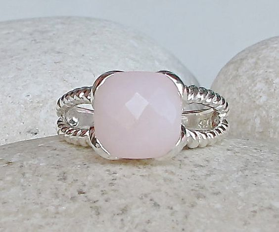 Pink Opal Ring Statement Ring October Birthstone Ring by Belesas