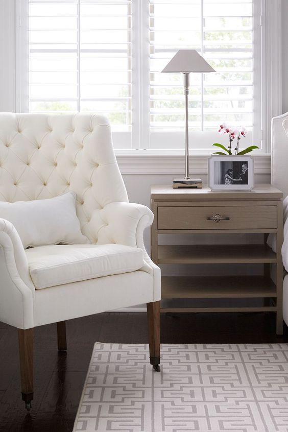 White linen tufted chair by restoration hardware for Restoration hardware bedside tables
