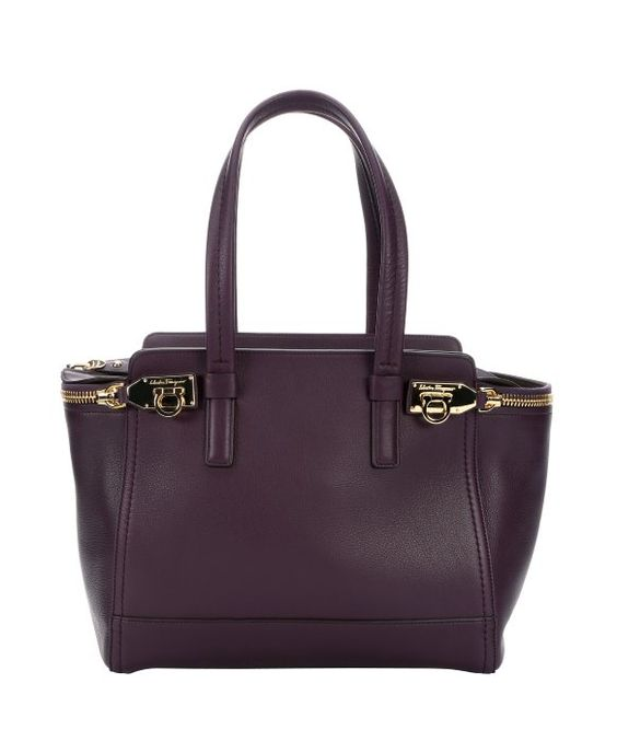 Salvatore Ferragamo plum leather structured tote bag