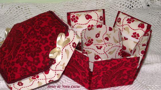Caixa sextavada em cartonagem : ideal para organizar suas linhas, agulhas, alfinetes, fita métrica...