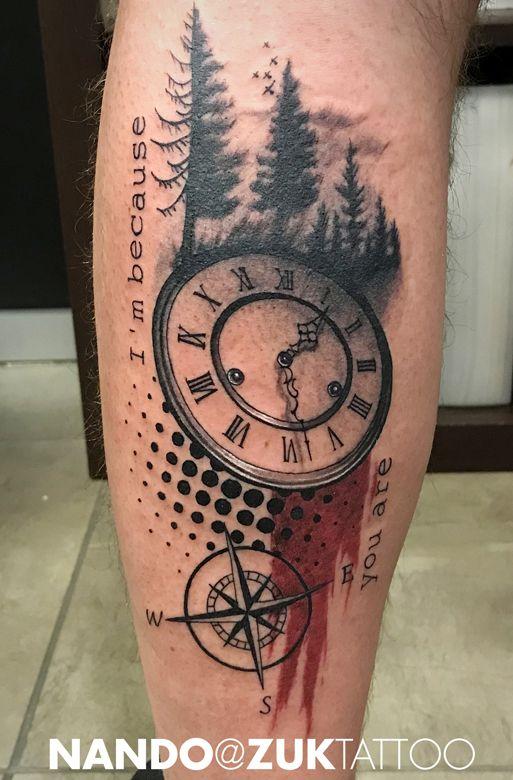 Tatuaje Estilo Collage Con Un Reloj Y Una Brujula Zuk Tattoo