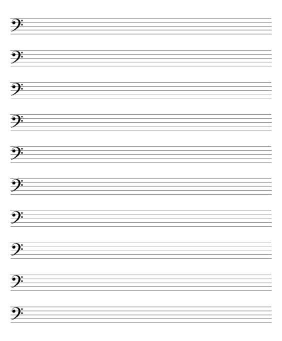blank bass clef staff - photo #33