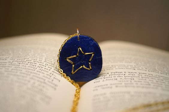 Gold Star Embroidered Wooden Pendant by SticksAndTomes $15.00 @TheCraftStar #handmade #jewelry #star #gold #embroidered #wood #outerspace #metallic #OOAK #unique
