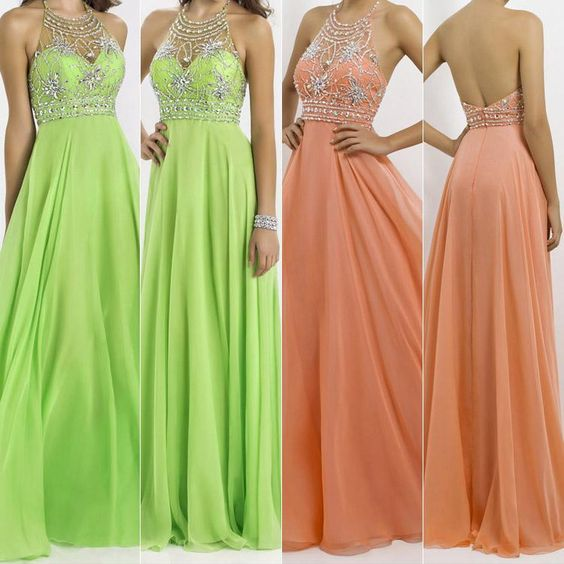 SSJ AJ020 In Stock 2015 New Lime Green Coral Pink Beaded Crystal Backless Halter Sheer Prom Dress Evening Dresses Formal Gown Chiffon, $107.73 | DHgate.com