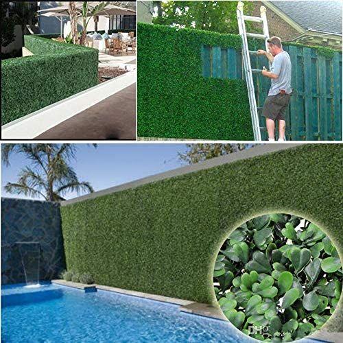 Hockus Decorations 25 X 25cm Artificial Turf Carpet Simulation Plastic Boxwood Grass Mat Green Milan Grass For Home Gard Garden Hedges Outdoor Privacy Backyard