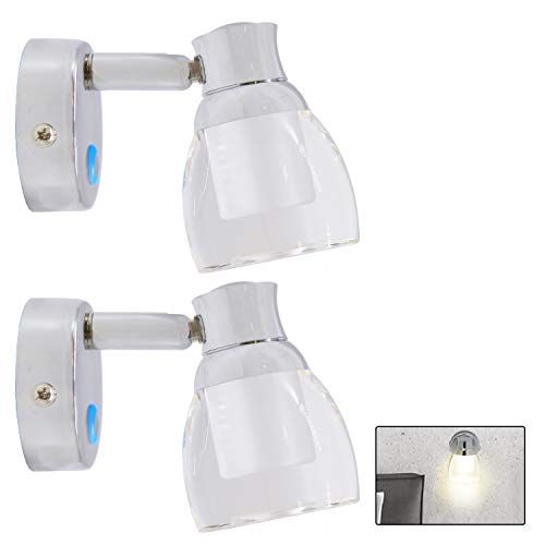 Facon 2 Pack Led Rv Wall Sconce Led Decor Lamp Bedside Reading Light With Touch Switch And Blue Indicator Ligh In 2020 Bedside Reading Light Led Decor Indicator Lights