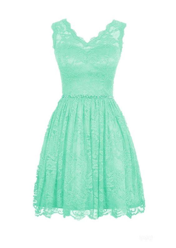 Haolicheng Women's Lace V-neck Short Prom Dress Bridesmaid Dresses Mint Green US 2