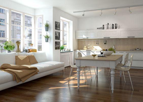 Offene L-Förmige Wohnküche mit großem Essbereich
