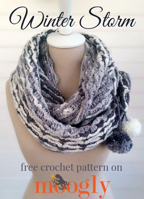 Winter Storm Scarf/Cowl - free crochet pattern on Mooglyblog.com! *** #crochet pattern #diy #gifts #fashion #scarf #handmade holiday