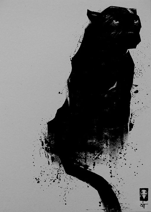 minimal details yet this artist captures all of the ferocity and attitude of a panther