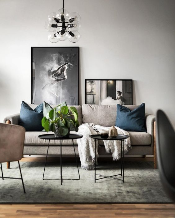 Modern Scandinavian Living Room With Colorful Interior In Shades Of Beige Blue And Green Loft Living Room Design Living Room Design Modern Living Room Loft