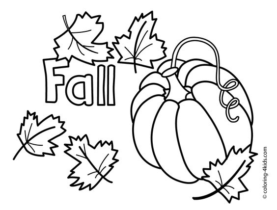 Autumn coloring pages with pumpkin for kids, seasons ...