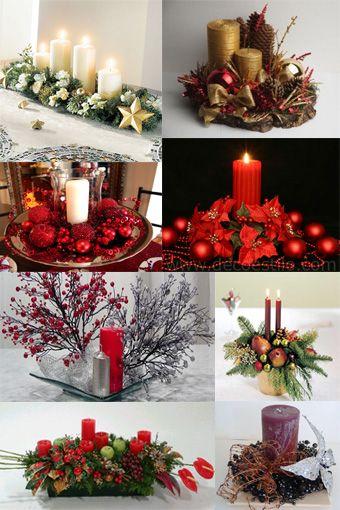 Para disfrutar los manjares que ofrecerás en esta Navidad, embellece tu mesa con un centro decorativo hecho por ti misma. Reúne velas de diferentes alturas, piñas y hojas de muérdago para crear un adorno único. Durante la cena, enciende las velas. Opta por colores verde, rojo, dorado o blanco según el color de tu vajilla.