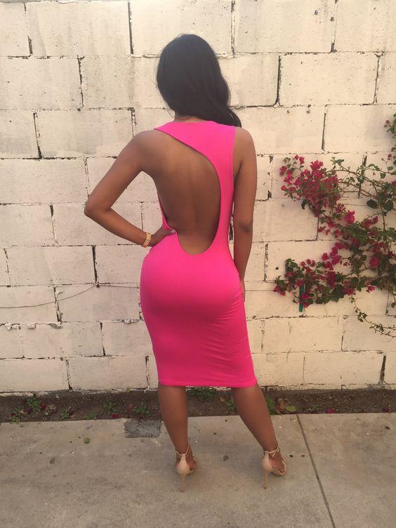 Backless Bodycon Mid Calf Dress