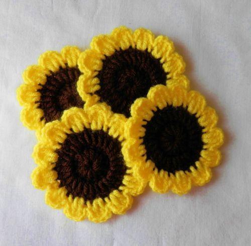 4-Crochet-Sunflower-Coasters-Mini-Doilies-MUG-Mats-Supplies-Tables-Cups-DRINK