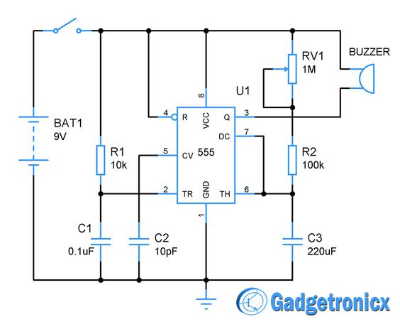 One Ten Minutes Alarm Circuit Diagram Using Timer Ic 555
