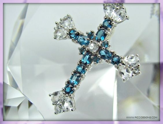 "This 18"" Sterling Silver Blue and White Topaz Gemstone Cross Pendant From RICCI Designs would make a great gift. 4.60 CTW Of Topaz. $59.99 With Free Shipping And Gift Boxed.  Find This And Others WWW.RICCIDESIGNS.COM"
