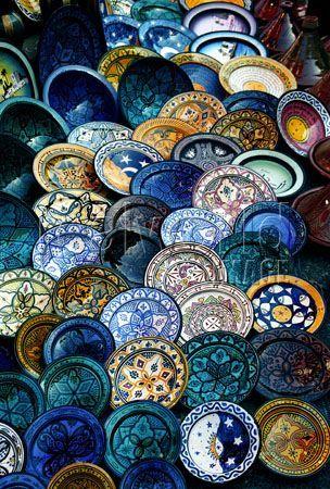Casablanca, Morocco - beautiful handpainted plates at market