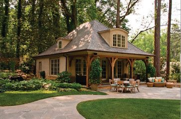 Pool houses outdoor living and house on pinterest for Southern living detached garage plans