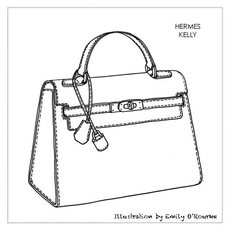 faux ostrich hermes handbags - HERMES - KELLY BAG - Designer Handbag Illustration / Sketch ...