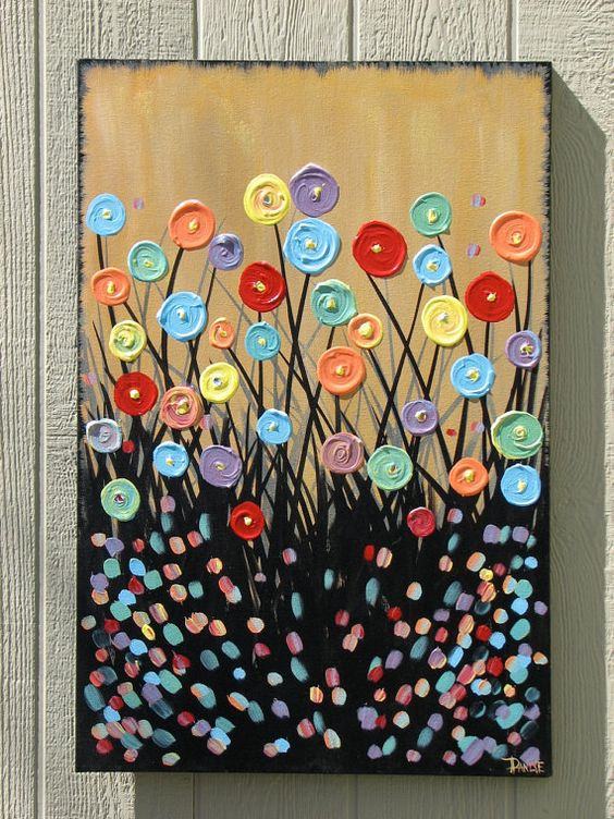 I love how creatively it was done :): Paintings On Canvas, Danlyespaintings 199, Art, Modern Abstract, Button Wonders, Paintings Projects, Canvas Modern