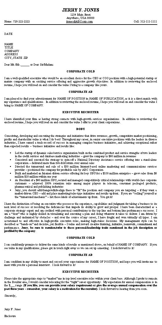 Executive Cover Letter Cover Letter Example Sample Resume Cover Letter Cover Letter For Resume