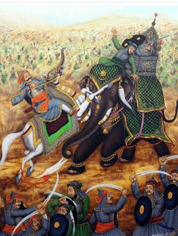 Pratap and Man Singh came face to face in the battle of Haldighati; Man Singh was saved but the rider of the elephant died.....
