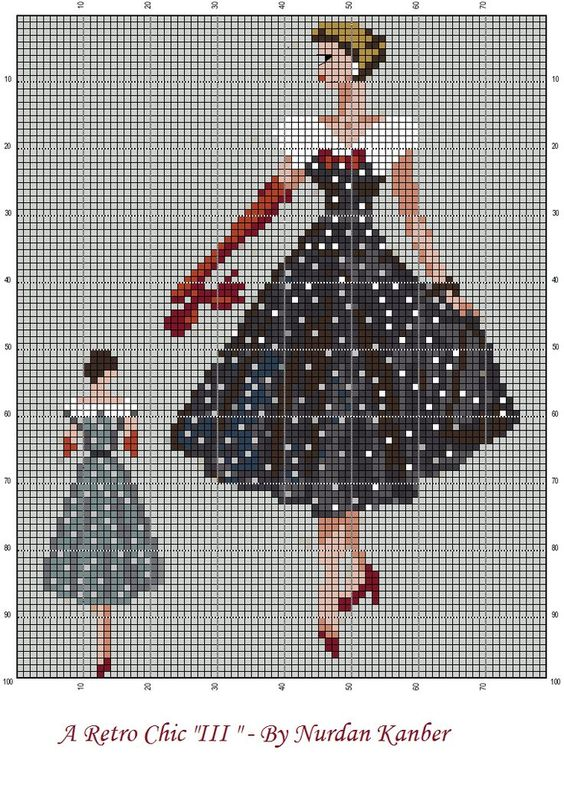 0 point de croix femme retro robe noire à pois blancs - cross stitch retro lady in white polka dots black dress: