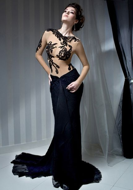 VANESSA: sophisticated black evening dress with long train and ...