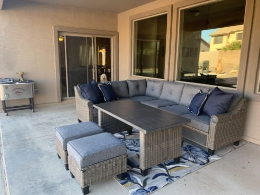 Broyhill Patio 5 Piece Cushioned Sectional All Weather Wicker Set Big Lots In 2020 Royal Furniture Deep Seating Patio Seating Sets