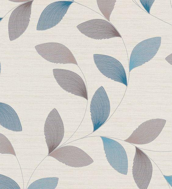 Papel pintado hojas modernas azules y metalizadas - 1140324