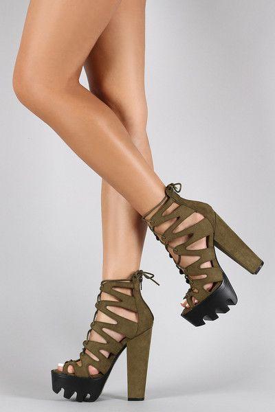 Wild Diva Lounge Caged Contrasting Lug Sole Platform Chunky Heel