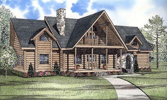 Elevation of Log   House Plan 61132