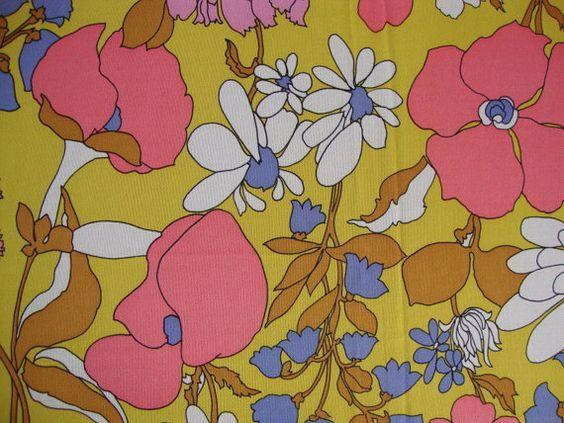 Vintage 60s Pink Poppy and Daisy Fabric Mod by CuteBrightFun, $28.00